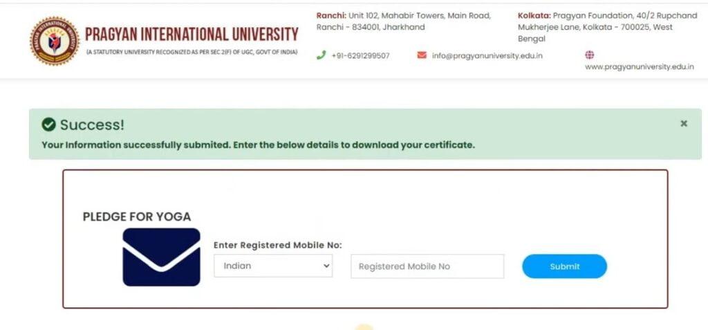 Yoga Certificate free download